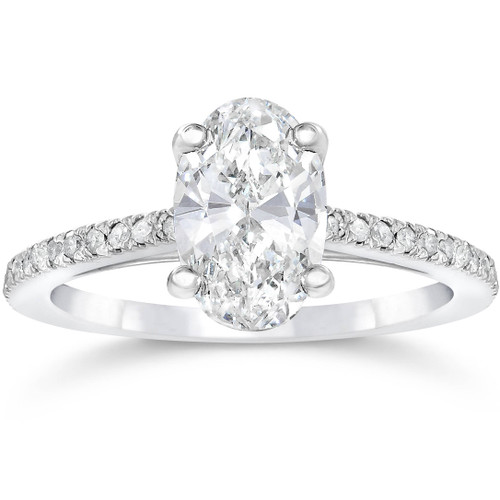 1 1/10ct Oval Diamond Vintage Engagement Ring Solitaire Antique 14K White Gold (H/I, I1-I2)