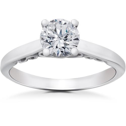 1/2 ct Lab Created Eco Friendly Diamond Gabriella Engagement Ring 14k White Gold (F, VS)