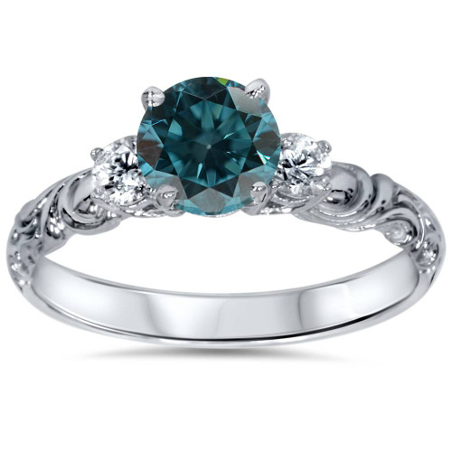 1 1/4 cttw 3-Stone Blue Diamond Vintage Engagement Ring 14K White Gold (Blue, I2-I3)