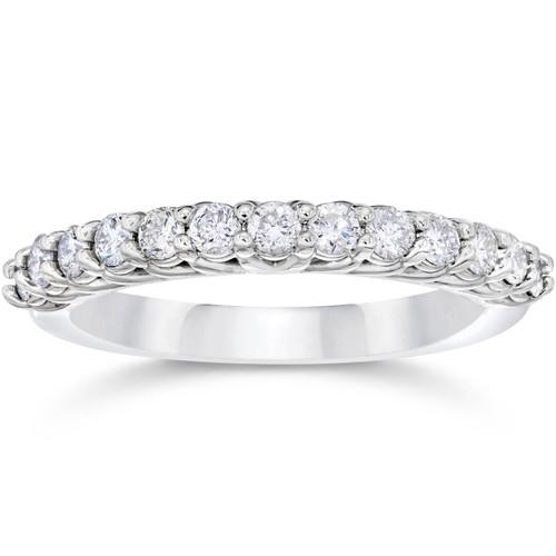 5/8Ct Diamond Wedding U Prong Trellis Stackable Wedding Ring 10K white Gold (H/I, I1-I2)