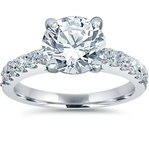 2 ct TDW Diamond Engagement Ring Solitaire With Accents 14K White Gold ((G-H), SI(1)-SI(2))