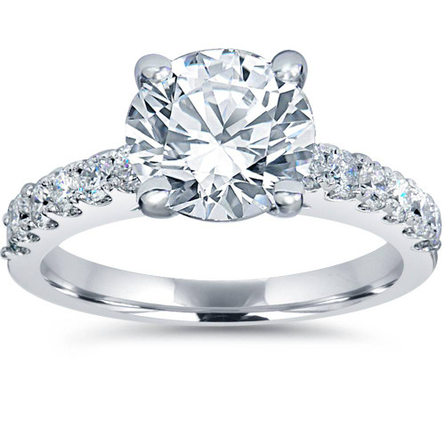 2 ct TDW Diamond Engagement Ring Solitaire With Accents 14K White Gold  ((G-H) de855b30f1