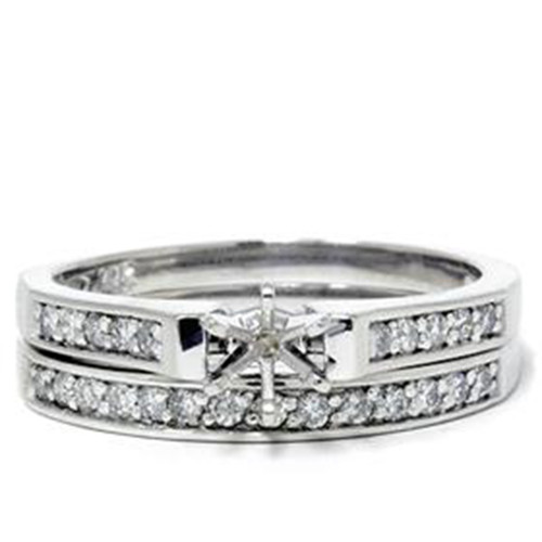 Platinum 1/3ct SI Diamond Engagement Ring Setting Set (G/H, SI)