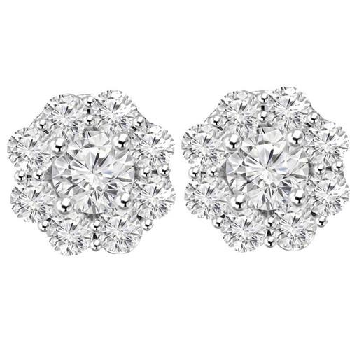 3 1/2ct Halo Fire Diamond Studs 14K White Gold (G/H, I1)
