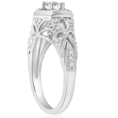 3/4ct Vintage Halo Round Diamond Engagement Ring 14K White Gold (G/H, I1)