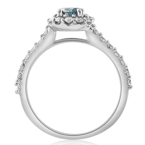 1 3/8ct Blue Diamond Halo Engagement Ring 14K White Gold (G/H, I1-I2)