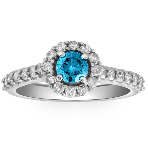 1 3/8ct Blue Diamond Halo Engagement Ring 14K White Gold (G/H, I1-I2)