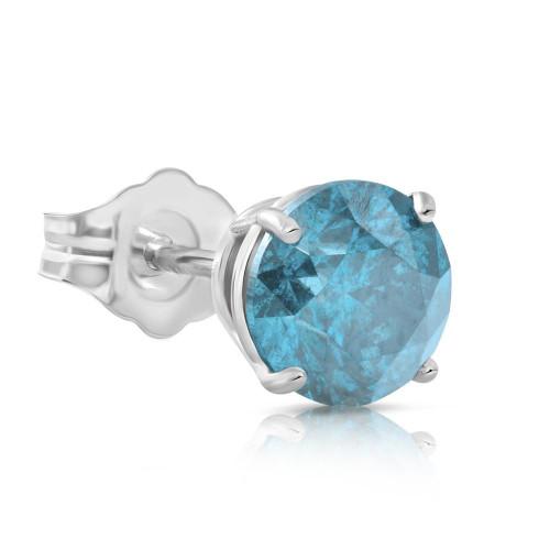 1/5ct Blue Diamond Single Stud 10K White Gold (Blue, SI)