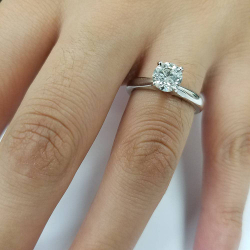 1 ct Diamond Solitaire Round Brilliant Cut Natural Real 14k White Gold sz7 (I, I2)