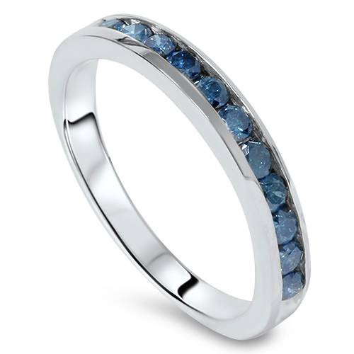 1 cttw Blue Diamond Wedding Ring 14K White Gold (Blue, SI2/SI3)