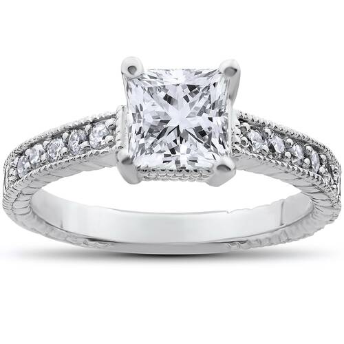 1 1/4ct Pave Vintage Diamond Ring 14K White Gold (H, I1)