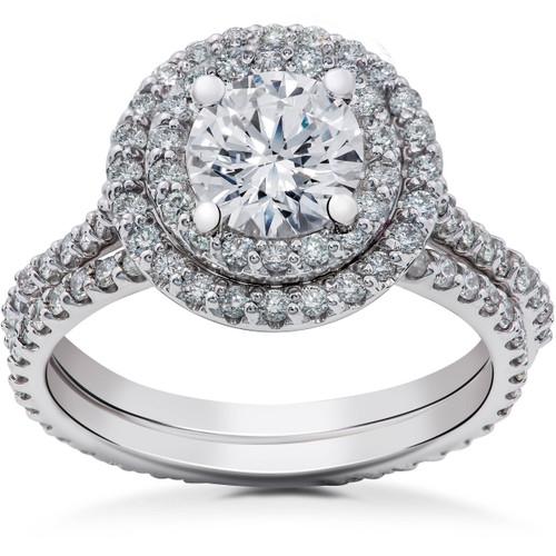 1 1/2 ct Halo Lab Created Diamond Engagement Ring & Matching Eternity Band 14k (F, VS)
