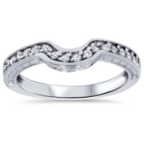1/4ct Notched Wedding Ring Curved Antique Like Enhancer (G/H, I1)