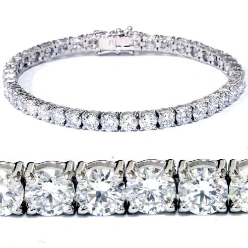 "12 1/3Ct Diamond Tennis Bracelet 18k White Gold 7"" Lab Created (F, VS)"