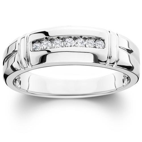 1/4ct Channel Set Diamond Ring 14K White Gold Mens Wedding Band (G/H, SI)