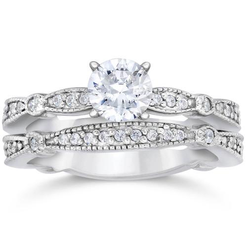 1ct Pave Milgrained Diamond Engagement Wedding Ring Set 14K White Gold (G/H, I1)