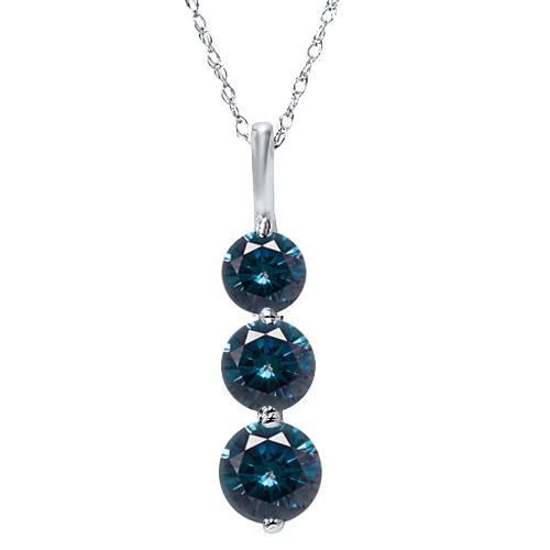 1 1/2ct Three Stone Blue Diamond Pendant 14K White Gold (Blue, I1)
