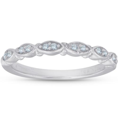 1/10ct Vintage Diamond Wedding Ring Womens Marquise Shape Stackable 14k (H/I, I1-I2)