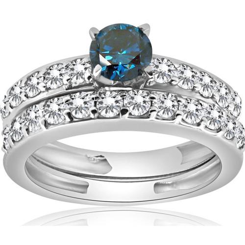 1 3/8Ct Blue Round Cut Diamond Matching Bridal Engagement Ring Set White Gold (H/I, I1-I2)