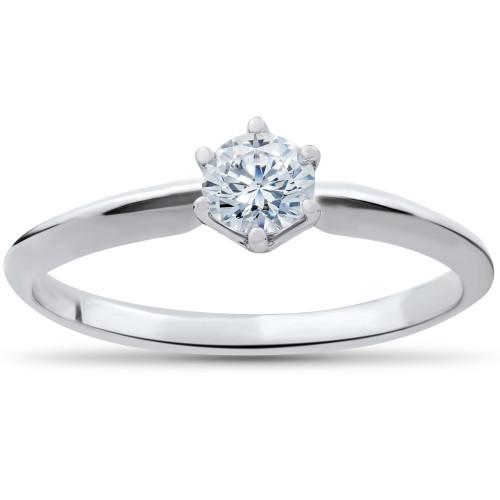 1/4ct Solitaire Diamond Engagement Ring 14K White Gold (I/J, )