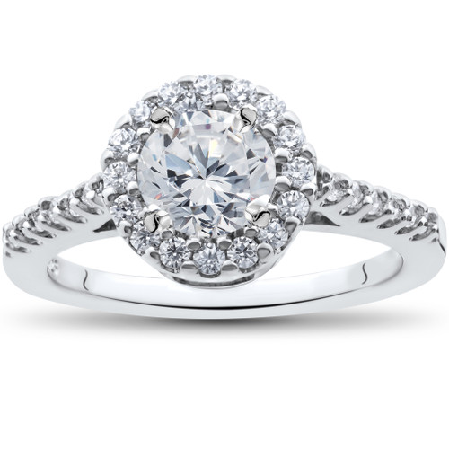 1 1/2ct Halo Diamond Solitaire Engagement Ring Round Cut 14k White Gold (H/I, I1)