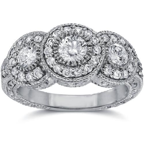 1 1/2ct Vintage Three Stone Lab Created Diamond Engagement Ring 14K White Gold (F, SI(1)-SI(2))