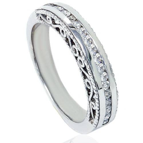 1/2ct Vintage Heirloom Diamond Wedding Ring 14K White Gold (G/H, I1-I2)