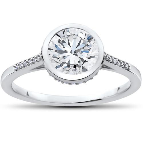 1 5/8 ct Lab Grown Diamond Aria Engagement Ring 14k White Gold (F, VS)