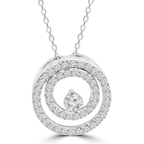 "Diamond 1/2 Ct Double Circle Solitaire Pendant 14K White Gold 18"" Chain (G/H, I2)"