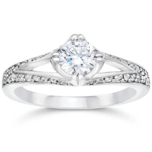 1ct Diamond Split Shank Vintage Engagement Ring 14K White Gold (G/H, I1-I2)