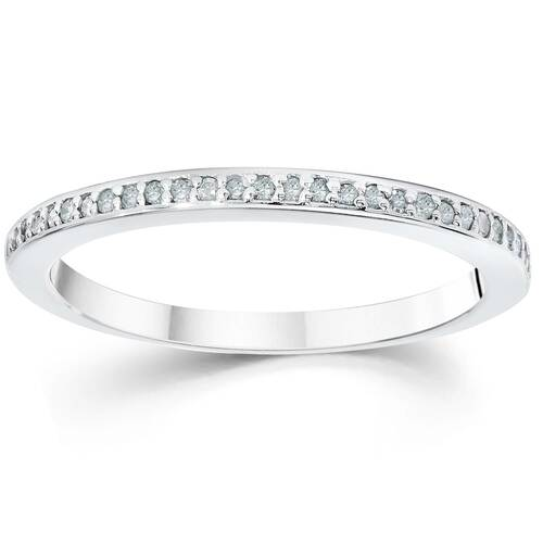 1/10ct Pave Diamond Wedding Ring 14K White Gold (G/H, I2-I3)