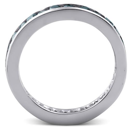1 1/2ct Treated Black Diamond Channel Set Eternity Ring 14K White Gold (Black, )