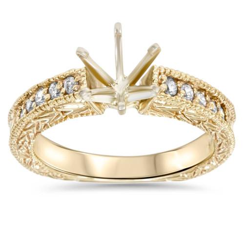 Gold 1/4ct Diamond Engagement Semi Mount Ring Setting (G/H, I1)