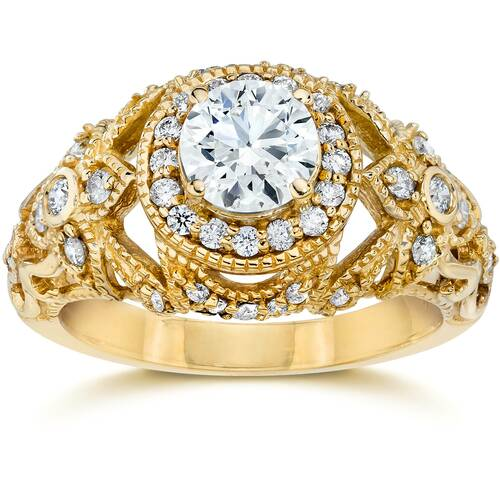 Emery 1.00Ct Vintage Diamond Engagement 14K Yellow Gold (H/I, I1)