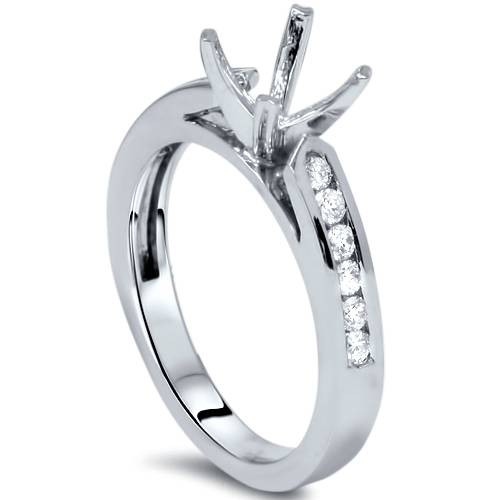 1/4ct Diamond Channel Set Mount Ring 14K White Gold (G/H, I1)