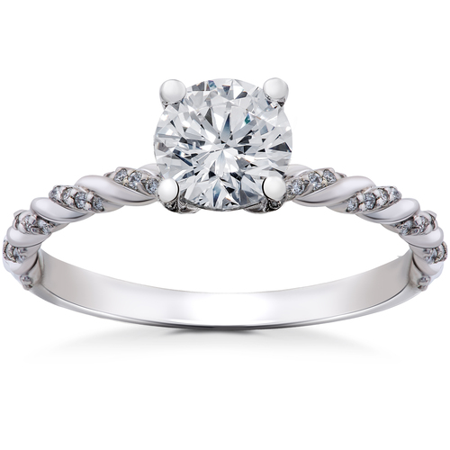7/8 ct Lab Grown Round Eco Friendly Diamond Mia Engagement Ring 14k White Gold (F, VS)