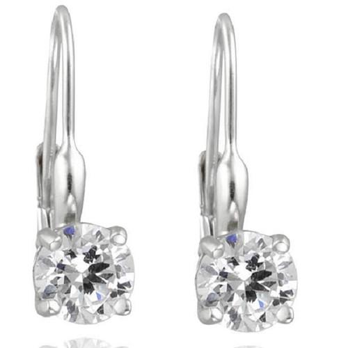 5/8ct Lever Back Dangle Hoops 14K White Gold Earrings (F, VS)