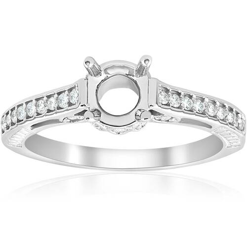 Vintage 1/5ct Semi Mount Engagement Ring Setting 14K White Gold (G/H, I2)