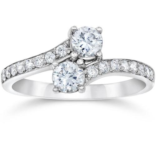 1 3/4 Ct 2-Stone Forever Us Lab Grown Diamond Engagement Ring 14K White Gold (F/G, VS)