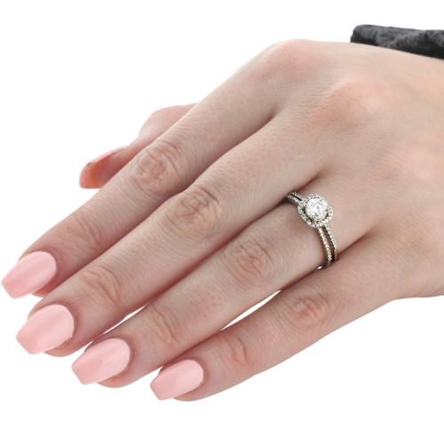 1CT Diamond Engagement Ring Cushion Halo Wedding Ring Set 14K White Gold (H-I, I1)
