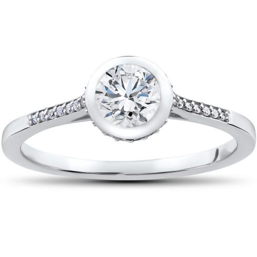 5/8 ct Lab Grown Diamond Aria Engagement Ring 14k White Gold (F, VS/SI)