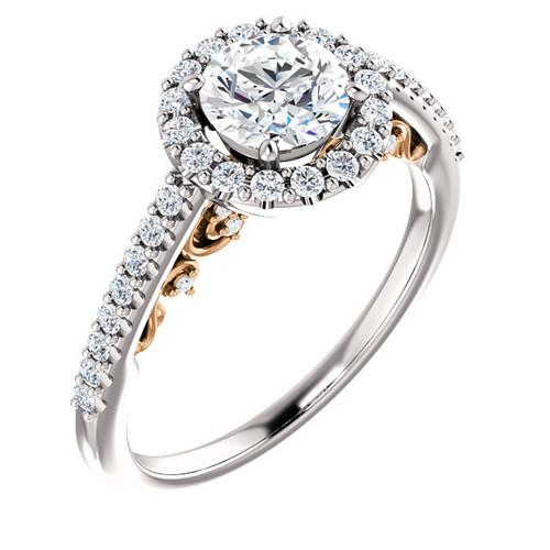1ct Diamond Vintage Engagement Ring Filigree 14k Rose White Gold (H/I, I1-I2)