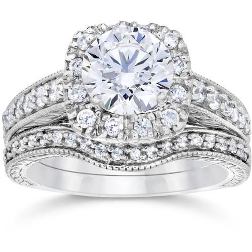 1 3/4ct Cushion Diamond Vintage Halo Engagement Ring Set 14K White Gold ((G-H), SI(1)-SI(2))
