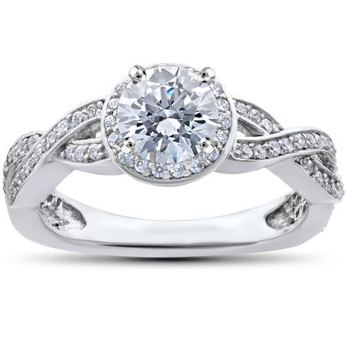 7/8ct Pave Halo Diamond Engagement Infinity Vintage Ring 14K White Gold (H, I2)