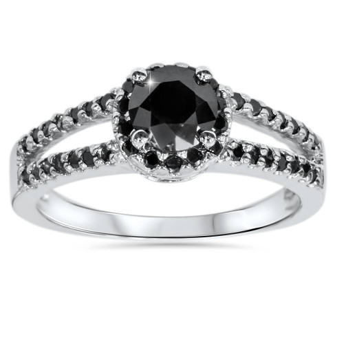 1 5/8ct Black Diamond Pave Halo Engagement Ring 14K White Gold (Black, AAA)