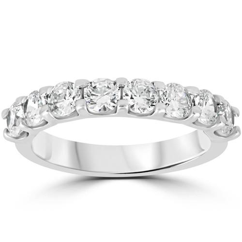 1 1/2 Ct U Shape Prong Diamond Wedding Ring 14K White Gold (H/I, I1-I2)