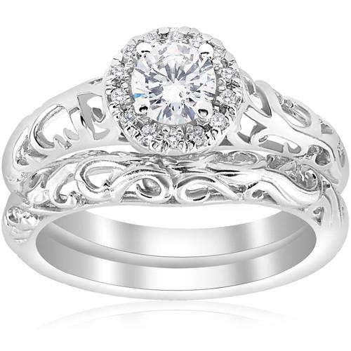 5/8ct Round Diamond Vintage Engagement Wedding Ring Set 14K White Gold (G/H, I1)