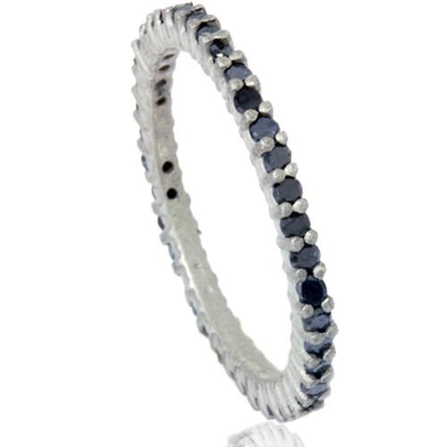 1/2ct Black Raw Diamond Prong Set Eternity Ring 14K White Gold (Black, )