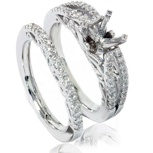 3/4ct Vintage Diamond Engagement Ring Bridal Set 14K White Gold (G/H, I1-I2)