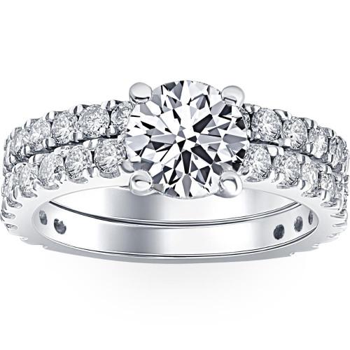3 1/2 ct Diamond Engagement Wedding Ring Set 14K White Gold Clarity Enhanced (H/I, I1)